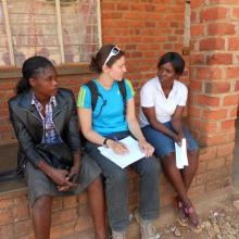 Mariya conducting interviews in Macha, Zambia. 2012
