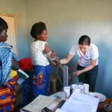 Mariya volunteering at a Macha rural health post. 2012