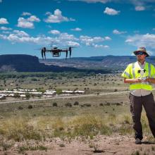 Michael Nekrasov flies UAS for cellular coverage measurements at Santa Clara Pueblo. 2019.