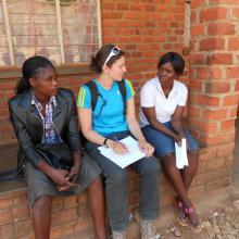 Mariya conducting interviews in Macha, Zambia. 2012