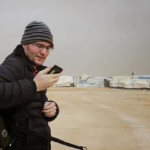 Danny scanning the airwaves in Za'atari. January 2015